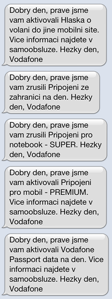 Informační SMS Vodafone